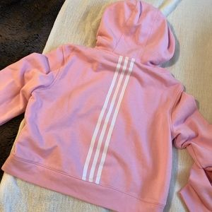 NWOT Adidas Candy Pink Cropped Hoodie